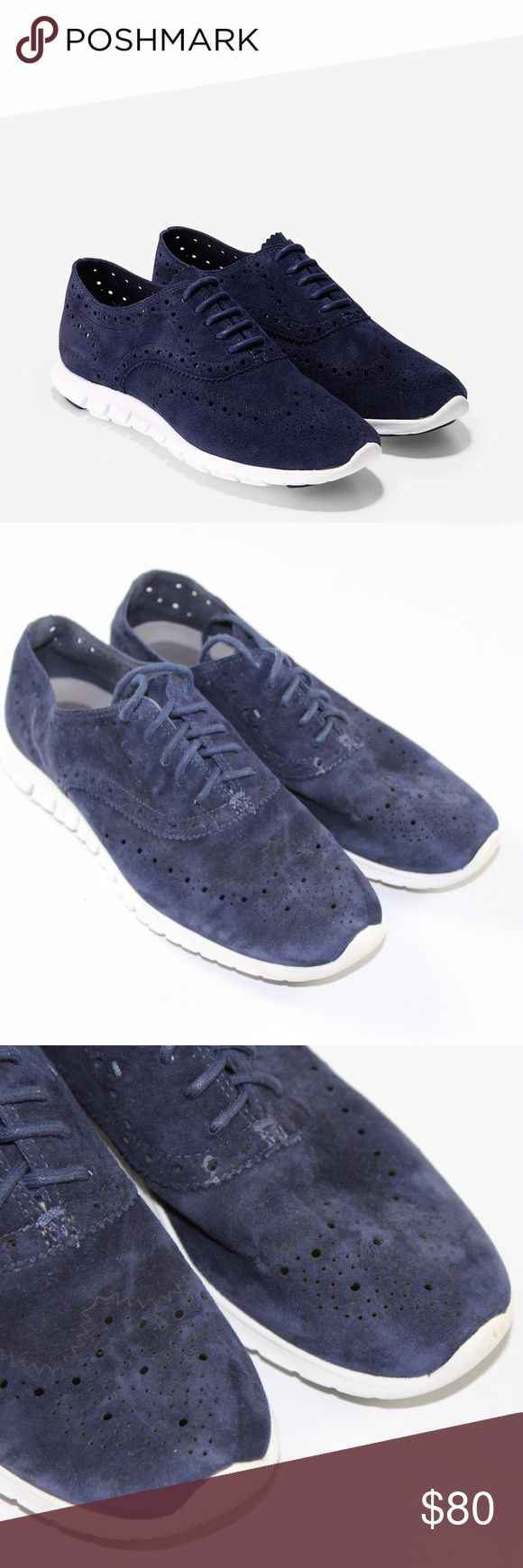 Cole Haan Women's Size 7 Zerogrand Wingtip Shoes Cole Haan Grand OS Suede Wingtip Dress Shoes  Excellent shoes  Comes from a smoke-free household  Navy Blue and White  The size is 7  Suede Check out my other items in my store! Cole Haan Shoes