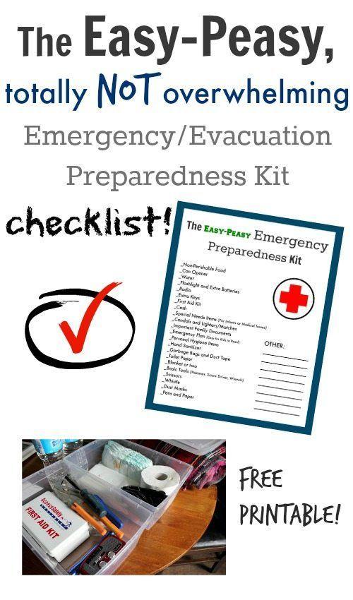 Emergency/Evacuation Preparedness Kit Free Printable Checklist!
