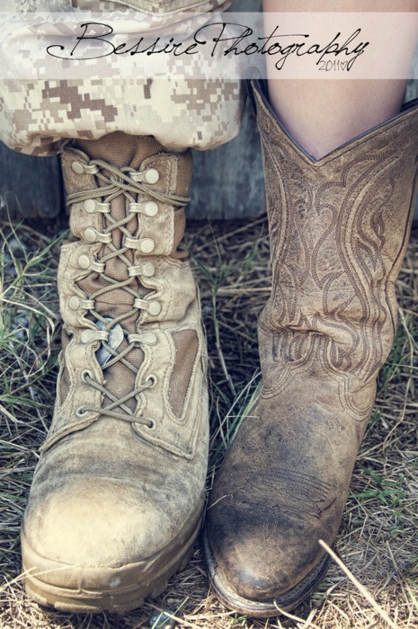 cowboy and combat boots.Cowgirl Boots, Combat Boots Cowgirls, Boots Cowgirls Boots, Adorable Photos, Cowboy Boots, Country Girls, Country Couple Pictures Armies, Events Ideas, Soldiers And Cowgirls