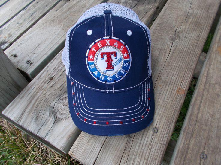 Womens MLB TEXAS RANGERS Bling Baseball Cap Patch Embellished Rhinestone Hat #1 Fan by BlingBanter on Etsy