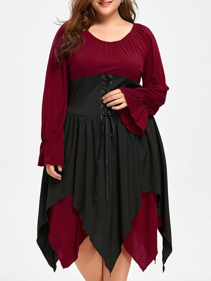 Halloween Plus Size Lace Up Layered Handkerchief Dress - DEEP RED 2XL
