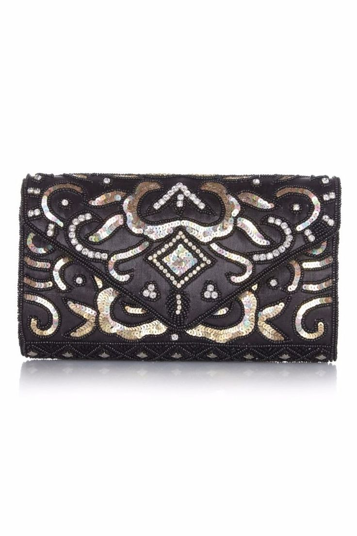 Vintage Inspired Embellished Clutch Bag in Black Gold | Great Gatsby Style Accessories | Gatsby Lady
