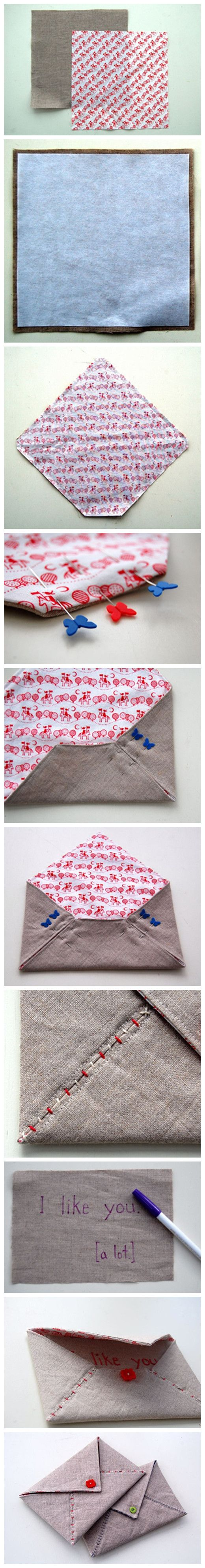 Stitched envelope: Cute Cards, Crafts Ideas, Gift, Fabric Envelope, Stitches Envelopes, Valentine, Fabrics Envelopes, Blog Ideas, Love Letters