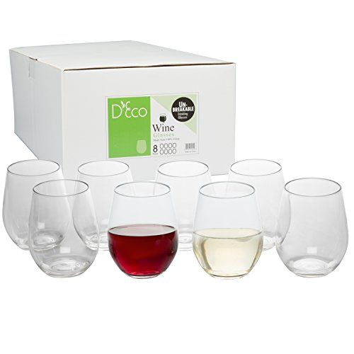 Shatterproof Stemless Wine Glasses: Unbreakable, Reusable, Dishwasher Safe (8 Pack) by D'Eco- Our wine glasses allow you to have the look and feel of real glassware without worrying about breaking or shattering them.