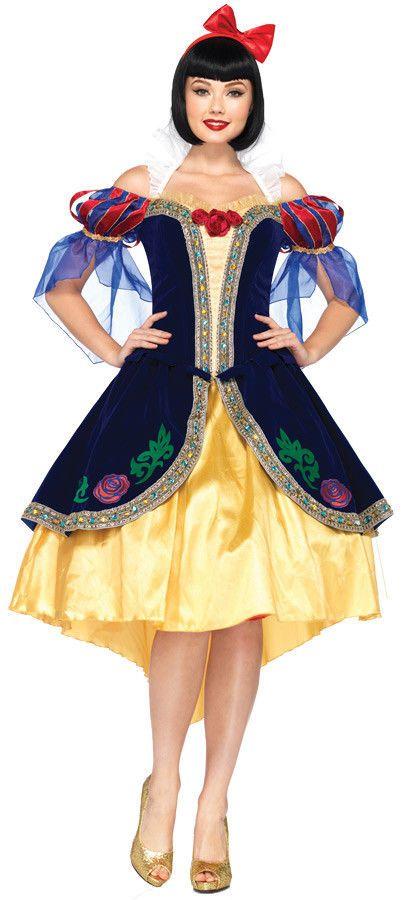 Snow White Deluxe Adult Women's Costume Blue Overlay Trimmed Fancy Dress  | eBay