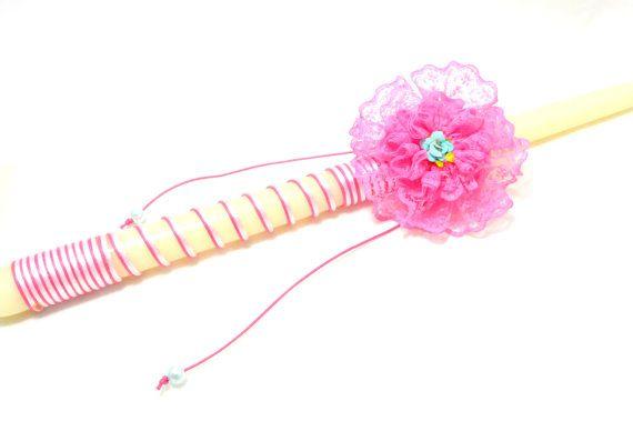 Greek Wedding Candle . Pink Lace Flower by FourSeasonsCreations