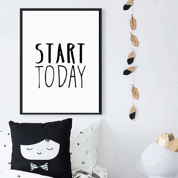 Начать Сегодня Мотивационных Плакатов Рукописный Вдохновляющие Фотографии на холсте Картина на Стене Home Decor для гостиной
