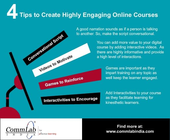 4 Tips to Create Highly Engaging Online Courses - An Infographic