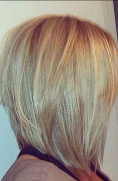 Love this cut!!! Medium length, A-line bob. ♡