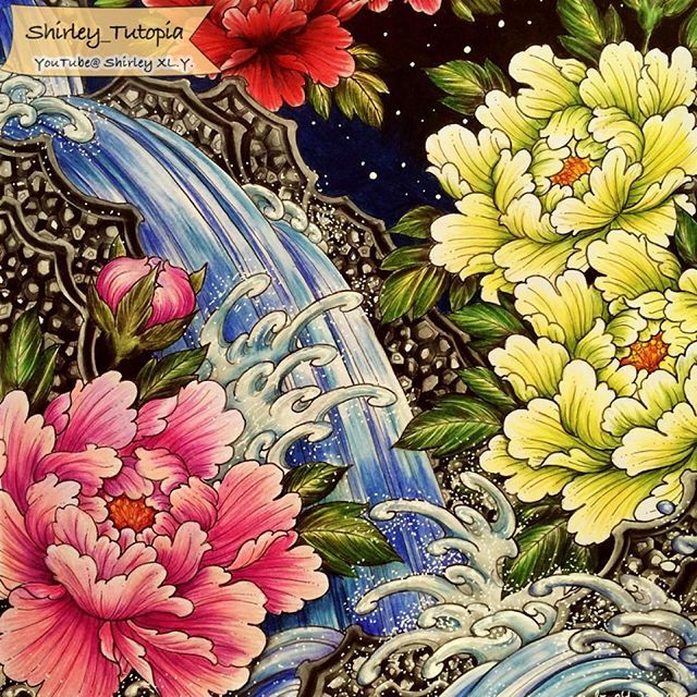 Mountain Stream Peony The Video Is Available On My YouTube Adult ColoringColoring BooksColouringPeoniesChris