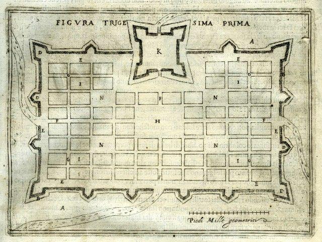 Alloggiamento di un esercito in campagna con trincee e altre opere campali (da P. Sardi, Corona Imperiale dell'Architettura militare, Venezia, 1618).