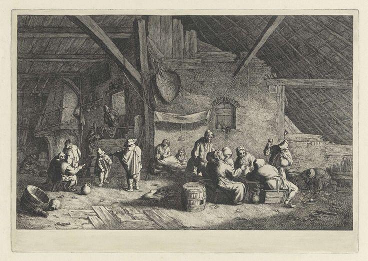 Jan de Visscher | Boerenbruiloft, Jan de Visscher, Adriaen van Ostade, 1643 - 1692 | In een boerderij wordt een boerenbruiloft gevierd. De bruid zit voor een laken en draagt een kroon. Links wordt muziek ten gehore gebracht door een violist en een jongen met een draailier. Op de vloer liggen eierschalen, botten, gebroken pijpjes, kannen en borden.