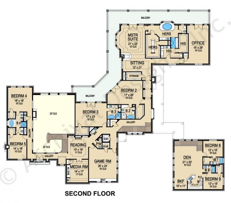 Sardegna House Plan   Second Floor Plan