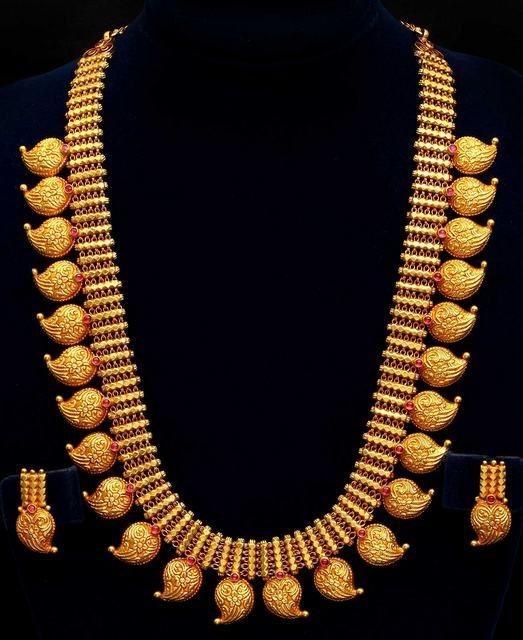 VBJ Gold Long Haram | Jewellery Designs