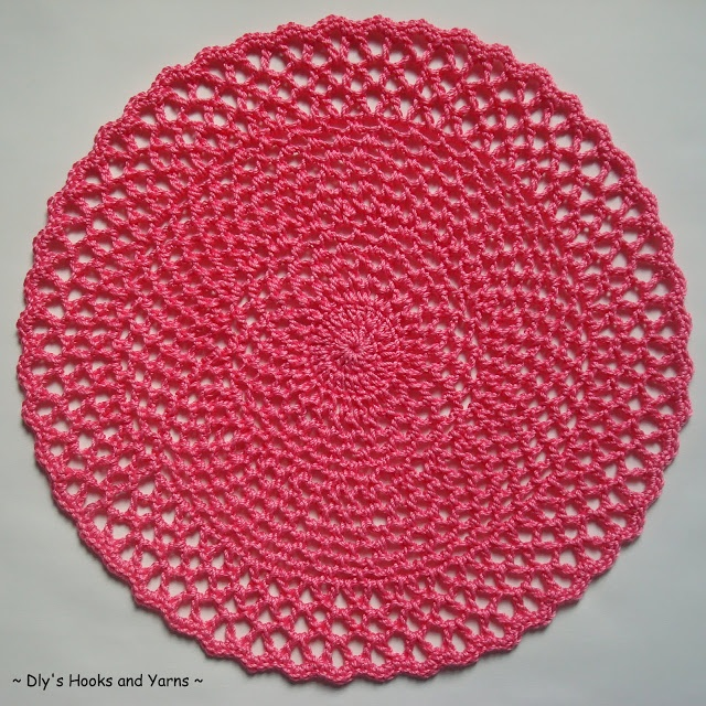 Free Crochet Pattern...Easy Lace Doily. Link to pattern below pic, I just liked this color better :)