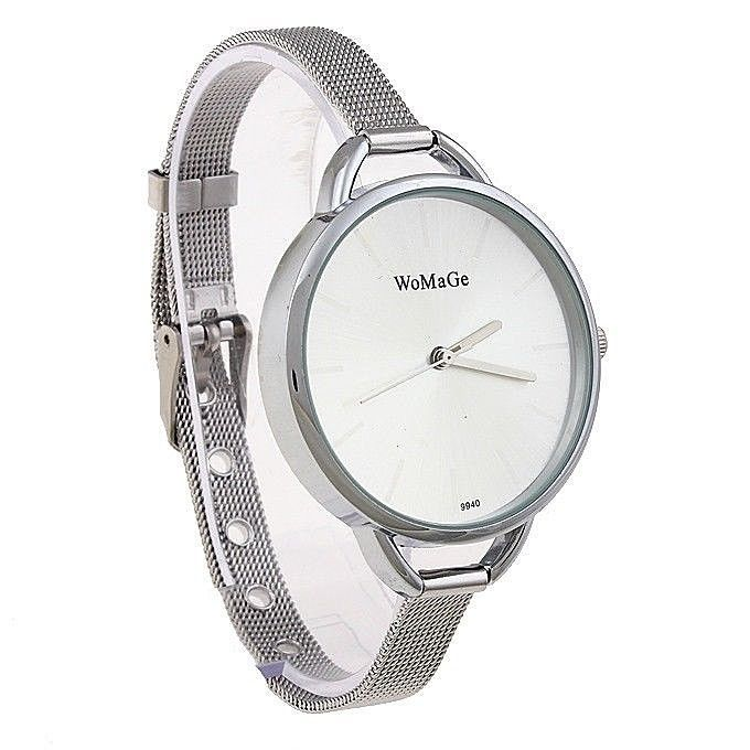 Womage Quartz Analog Watch Women White Dial Trendy Womens Silver Wristwatch  #WoMaGe #Casual