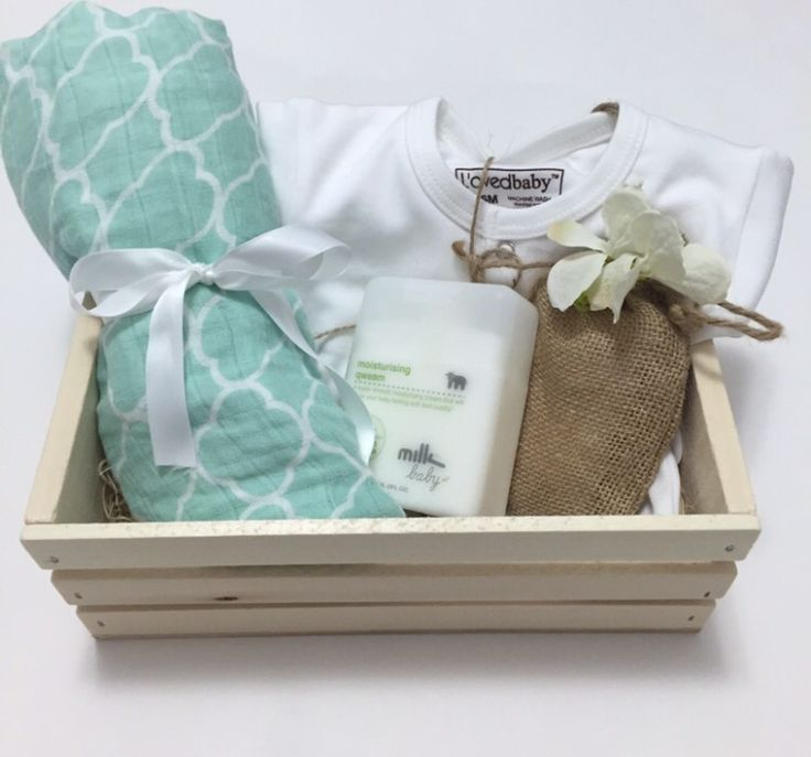40 best barbona baby images on pinterest gift boxes wine gift baby gift basket with muslin swaddle baby cream white baby stretchie and matching hat in wood box negle Gallery