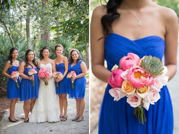 bright cobalt blue bridesmaid dresses and pink peonies