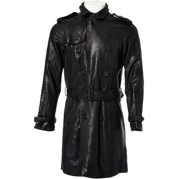 Pre-owned Burberry Leather Trenchcoat ($417) ❤ liked on Polyvore featuring men's fashion, men's clothing, men's outerwear, men's coats, black, men clothing coats, mens double breasted coat, mens trench coat, mens fur collar coat and mens double breasted trench coat