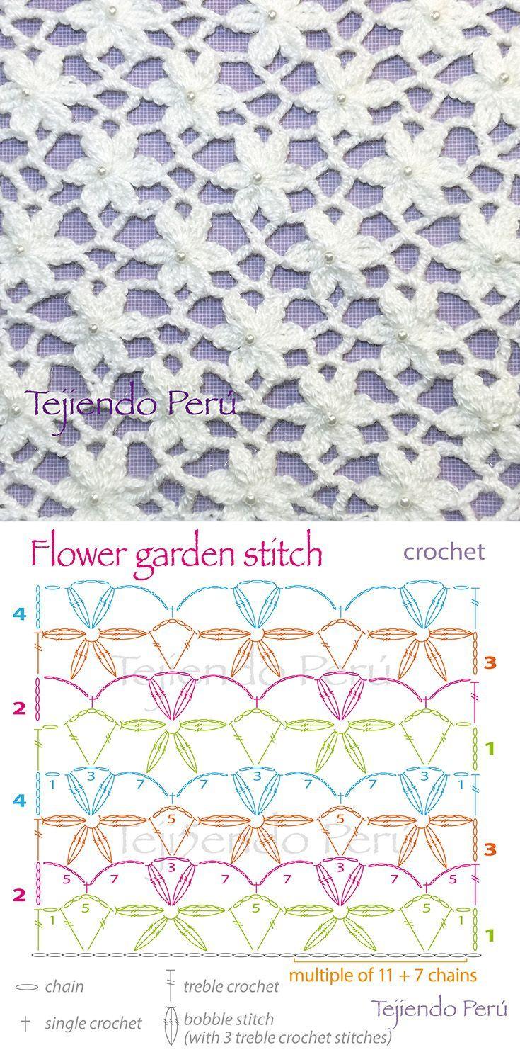 Crochet Flower Garden Stitch - Chart ❥ 4U hilariafina www.pinterest.com......