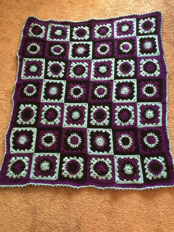 Crochet Granny Square Afghan, Warm crochet Blanket, Throw, Quilt (Purple Blue Black)  (made to order)