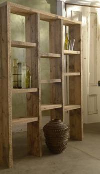 reclaimed wood shelving