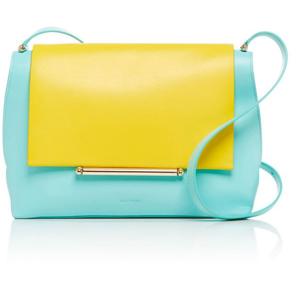 DELPOZO Calf Leather Envelope Crossbody Bag ($2,000) ❤ liked on Polyvore featuring bags, handbags, shoulder bags, calfskin handbag, crossbody handbags, yellow purse, crossbody purse and yellow shoulder bag