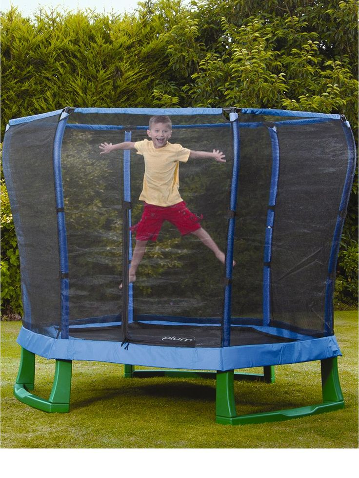 Easy for Fin to climb on and off.    7ft Junior Trampoline and Enclosure -