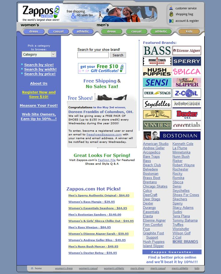 Zappos.com website in 2000