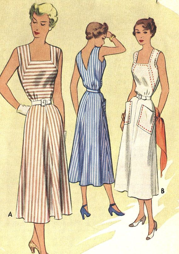Vintage 50s McCalls 7998 Misses V-Neck Back, Square Neck Front Sun Dress or Jumper Sewing Pattern Size 12 Bust 30