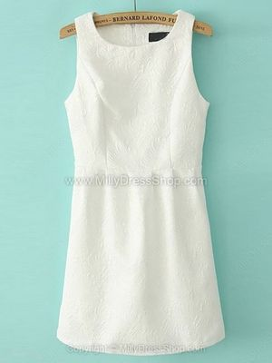 Beige Round Neck Sleeveless Embroidered Slim Dress