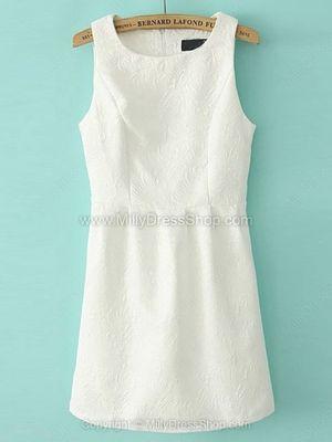 Beige Round Neck Sleeveless Embroidered Slim Dress