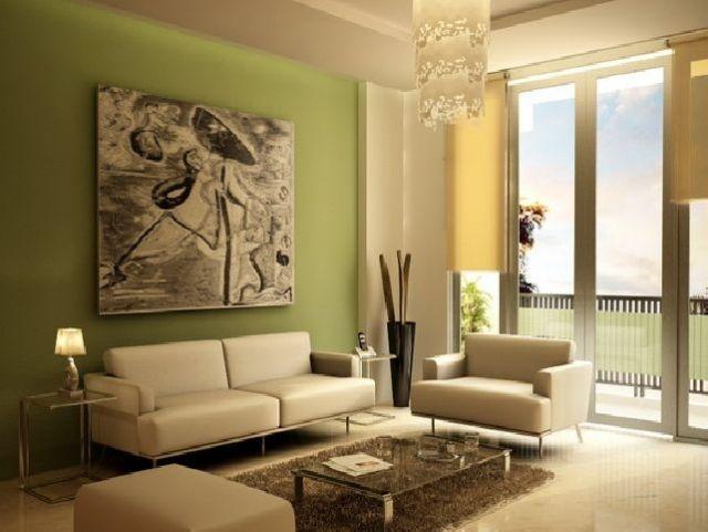 Sonniges Grün als Wandfarbe-Wohnzimmermöbel in hellbeige