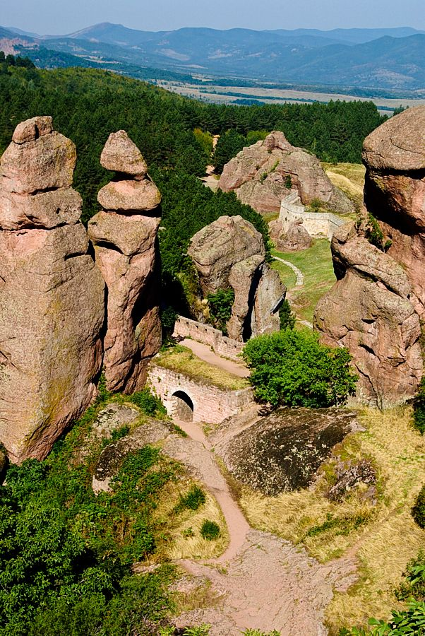 The Belogradchik Rocks are a group of strange shaped sandstone and conglomerate rock formations located on the western slopes of the Balkan Mountains (Stara Planina) near the town of Belogradchik in northwest Bulgaria.