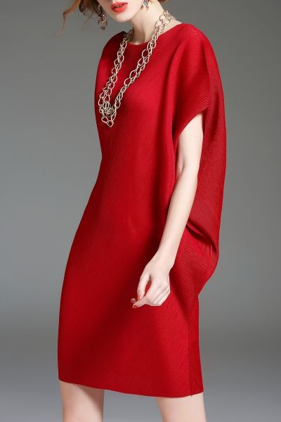 Batwing Sleeve Mini Shift Dress - RED ONE SIZE(FIT SIZE XS TO M)