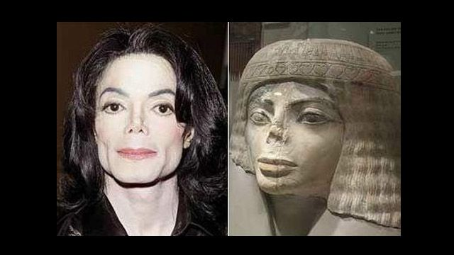 20 Crazy Look-alikes - Michael Jackson and Statue - both with bad nose jobs!