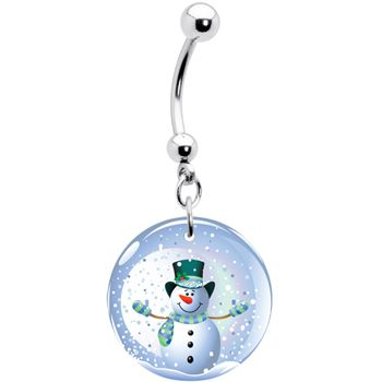 Holiday Snow Globe Snowman Belly Ring #bodycandy #bellyring #snowman $7.99