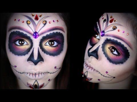 Sugar Skull Face paint tutorial. Dia de los muertos (Day of the Dead) - YouTube