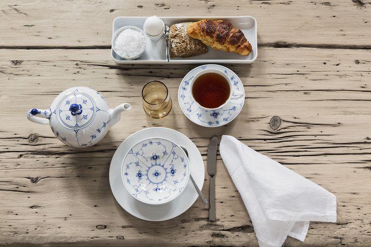 Lovely breakfast with Blue Fluted Plain, Royal Copenhagen