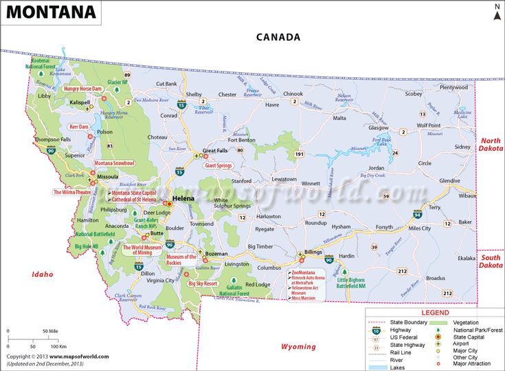 Montana Map Showing The Major Travel Attractions Including Cities - Montana cities map