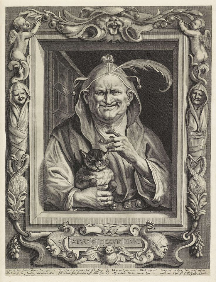Week 37:  'Old jester and his cat', Alexander Voet, 17th century