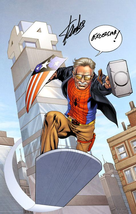 Stan lee made and writer the marvel comic, This image of stan lee he has Thor hammer and spiderman top and a x men belt and more