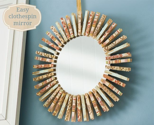 Make a mirror using clothespins