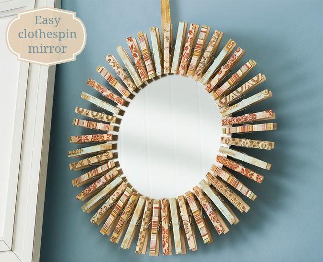 Make a mirror using clothespins