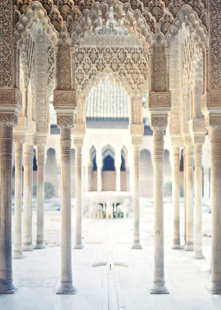 The Court of the Lions at the Alhambra Palace in Granada, Andalucía, Spain