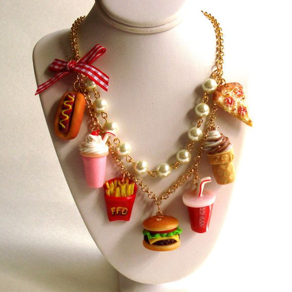 Fast Food Necklace Burger and Fries Statement Necklace 90s Grunge Junk Food Necklace Kawaii Food Jewelry Pin up Jewelry Pizza Necklace on Etsy, $99.99