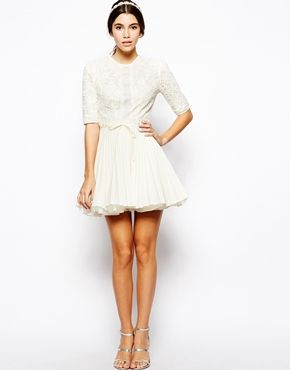 Jones and Jones Dress With Lace Bodice and Pleated Skirt
