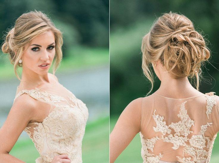 fryzura ślubna 2017, makijaż ślubny, suknia ślubna w kolorze nude