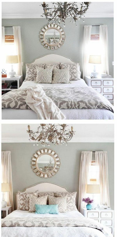 schlafzimmer bett wandfarbe grau wandspiegel