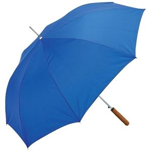 """All-Weather™ 48"""" Auto Open Umbrella. Features metal shaft and ribs, wood handle and royal blue polyester panels. http://www.wholesalemart.com/Wholesale-Umbrellas-s/313.htm"""